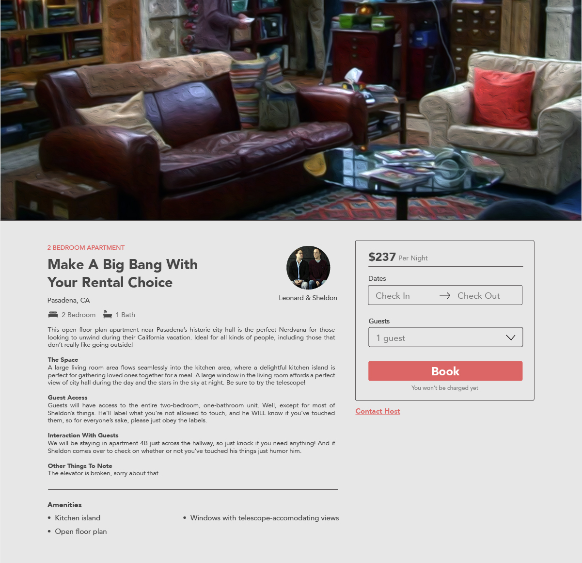 What if Your Favorite TV Characters Wanted to Rent Out Their Famous Homes Big Bang Theory