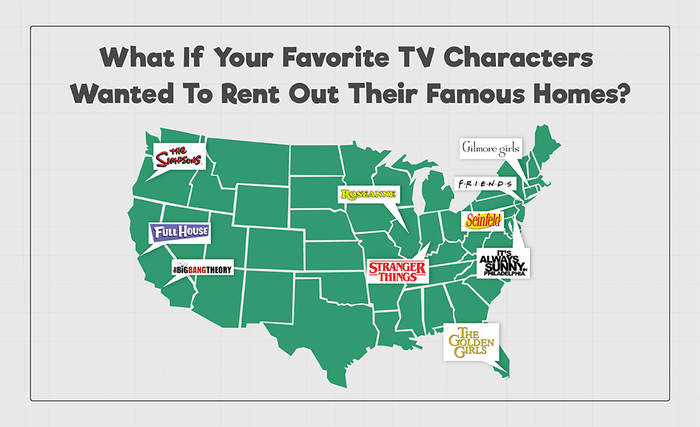 What if Your Favorite TV Characters Wanted to Rent Out Their Famous Homes U.S. Map
