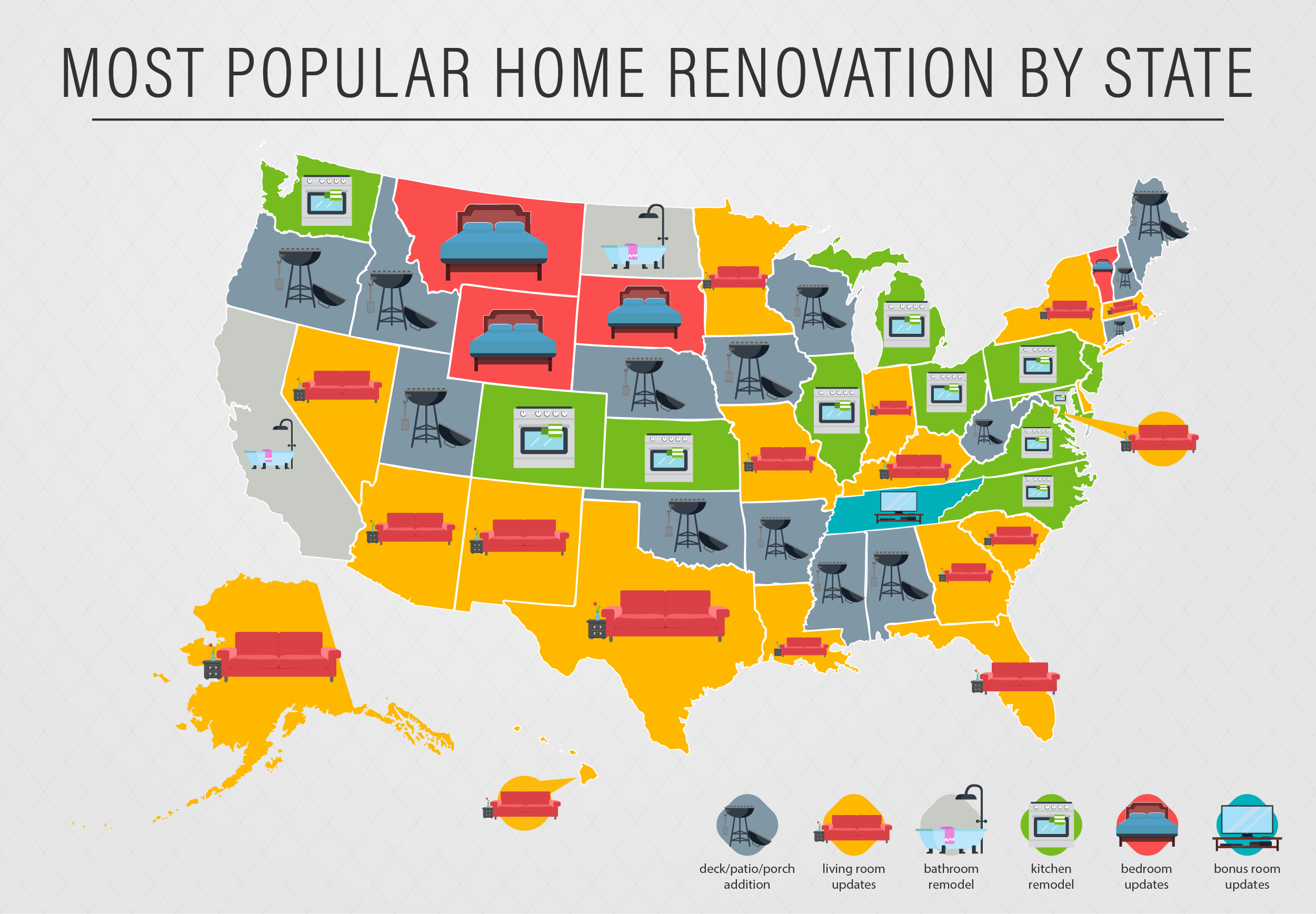 Most Popular Home Renovation Projects by State Map